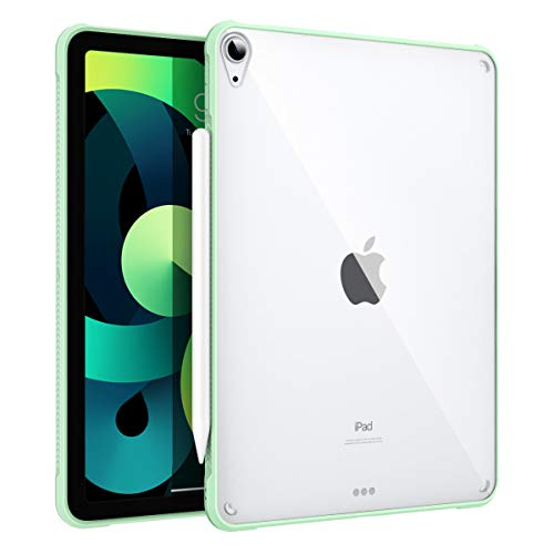 MoKo Case Fit iPad Air 4 - New iPad Air 4th Generation Case 2020 [Support Touch ID and Apple Pencil 2 Charging], Slim Hard PC Back Cover with TPU Air-Pillow Edge Bumper for iPad 10.9', Green