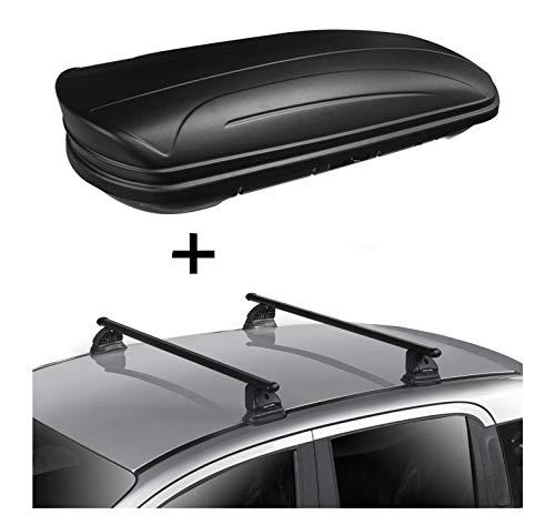 Dachbox VDPMAA320 320 Liter abschließbar schwarz matt + Dachträger VDP EVO Stahl kompatibel mit Mercedes Classe C (W205) 4 Türer ab 2014