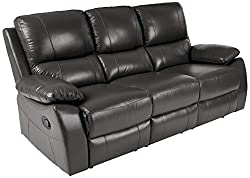 powerful Homelegance Greeley sofa with manual reclining, 79 inch W, gray genuine leather
