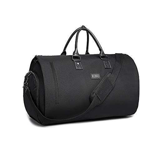 Kono Travel Suit Bag Suit Carrier Luggage Duffel Overnight Weekend Flight Garment Bag with Shoe Pouch for Men Women 40L (Black)