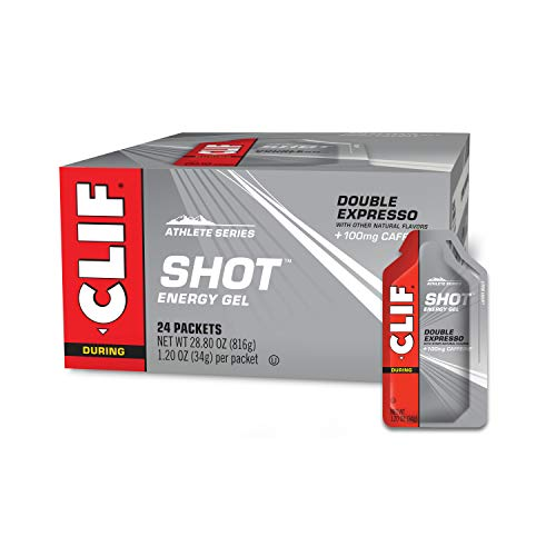 CLIF SHOT - Energy Gels - Double Expresso Flavor 100mg Caffeine- Non-GMO - Quick Carbs Caffeine for Energy - High Performance & Endurance - Fast Fuel Cycling and Running (1.2 Ounce Packet, 24 Count)