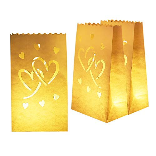 Homemory 50 PCS White Luminary Bags with Hearts, Flame Resistant Candle Bags, Tea Light Luminaries for Wedding, Valentine's Day, Halloween, Thanksgiving, Christmas, Party