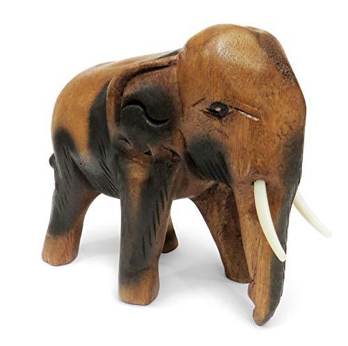 Figura de elefante caminando de madera tallada, madera, marrón, Medium 15cm