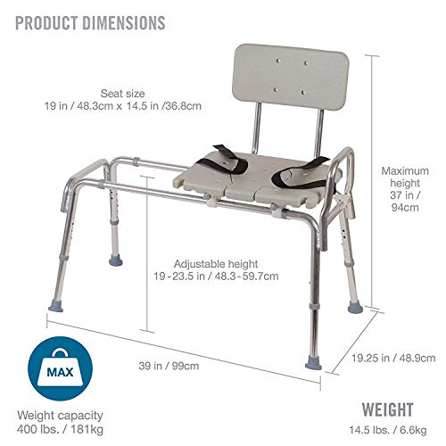 Tub Transfer Bench and Sliding Shower Chair Made of Heavy Duty Non Slip Aluminum Body and Seat with Adjustable Seat Height and Cut Out Access Holding Weight Capacity up to 400 Lbs, Best  Shower Seats and Bath Transfer Benches
