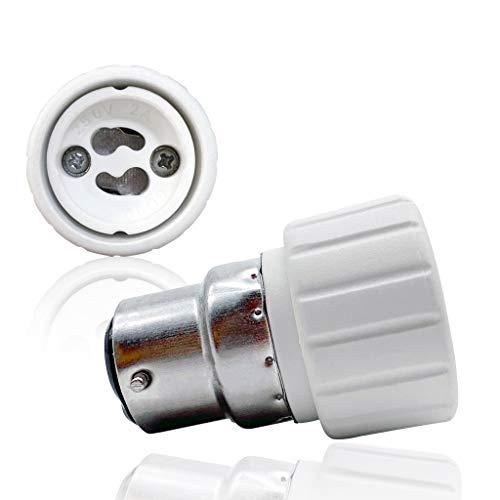 VARICART Base Transformador de Lámpara B22 a GU10, Adaptador de Casquillo de Bombilla, Máxima Potencia de Vatios 500W Enchufe Resistente al Calor, No Inflamable Hasta 220 Grados (Pack de 2)
