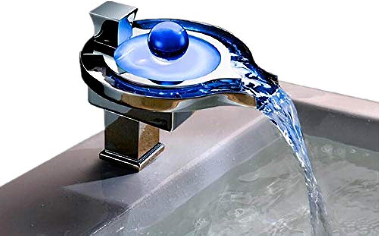 Libz LED-Licht-Bad mit Temperatursensor Wasserfall Waschbecken Wasserhahn Wasserbecken Wasserhahn Messing-Armaturen