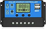 Solar Charge Controller, Topcloud 10A Solar Panel Controller 12V/24V PWM Auto Parameter Adjustable LCD Display Solar Panel Battery Regulator with Dual USB Port