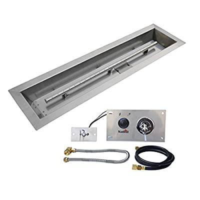 Stanbroil 36 x 6 inch Linear Drop-in Fire Pit Pan with Spark Ignition Kit Natural Gas Version