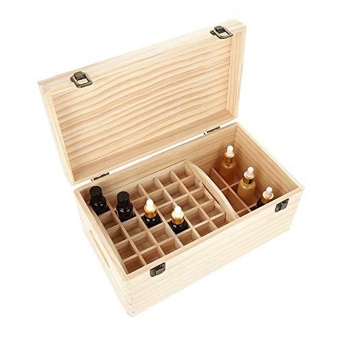 AYNEFY - Caja de aceite esencial de madera, 66 compartimentos, caja de aceite esencial de madera, para aromaterapia, aceites, organizador para mostrador