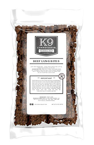 K9 Connoisseur Single Ingredient Dog Lung Bites Treats Made in USA Odorless Grain Free Beef Chew Bites Rich in Protein Best for Puppies, Small, Medium and Large Breed Dogs (6 Cup Bag of Lung Bites)