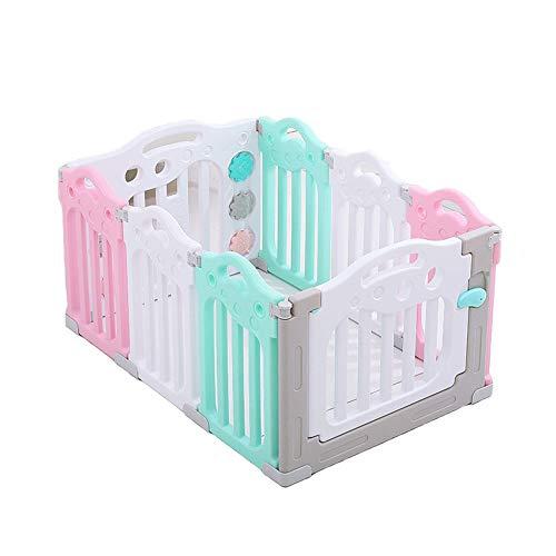 Childrens playpens Dzieci Kojenne Ogrodzenie Baby Fence Safety Dotychczasowe Centrum Play Yard Home Indoor - Odkryty Plastikowy Kocie (Różowy/Szary/Siedem Rozmiary)