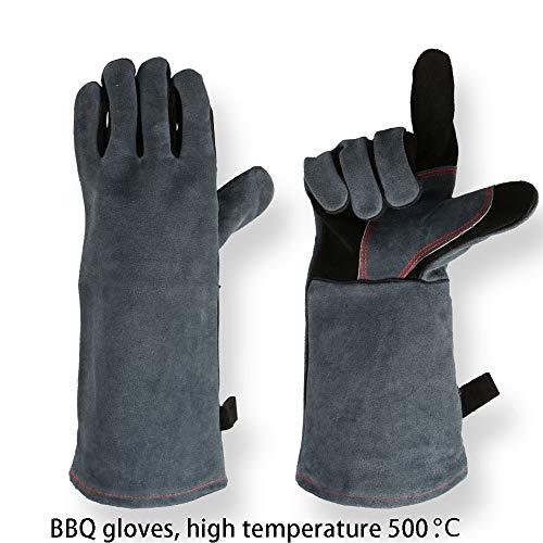 16 Inch Forge Lassen & BBQ Lederen Handschoenen, 932°F Extreme Hitte/Brandwerend met Lange Mouw voor Grill/Open haard/Tig Welder/Barbecue/Oven/Houtkachel/Koken/Bakken Eén maat Blackgray