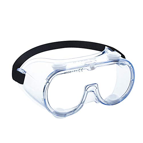 WSGG Medical Goggles, FDA Registered Safety Goggles Fit Over Glasses, Clear Wide-Vision Anti-Fog Eye Protection for Men and Women, Protective Eyewear for Lab, Hospital, Airplane, Workplaces(1 pack)