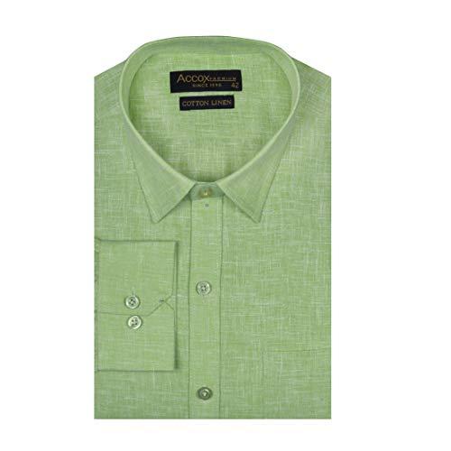 ACCOX Men's Full/Long Sleeves Formal Regular Fit Cotton Linen Plain Shirt (GCRFS25)