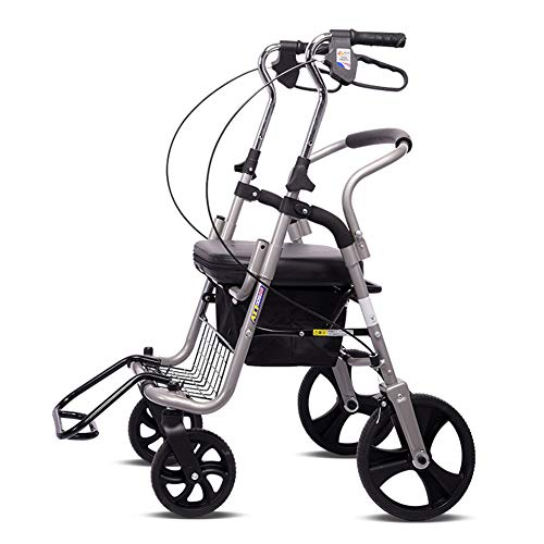 NSWDC Leichter Alter Mann-Rollator-Wanderer, Multifunktionsklappwagen mit 4 Rädern kann sitzen, tragbarer Einkaufslaufkatze/Hand-LKW, Eltern