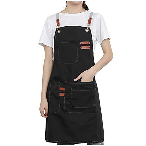 Watwass Grembiule da Lavoro Donna Nero con Tasche Cotone Grembiule Cuoco Lavabile Regolabile