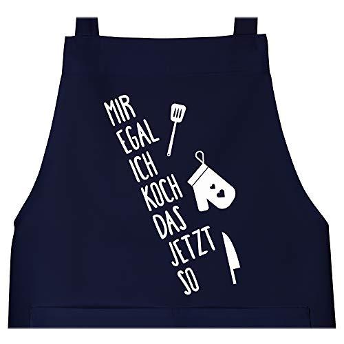 Shirtracer Schürze mit Motiv - Mir egal ich koch das jetzt so - 80 cm x 73 cm (H x B) - Navy Blau - geschenk für gastronomie - X967 - Schürze und Kochschürze für Erwachsene