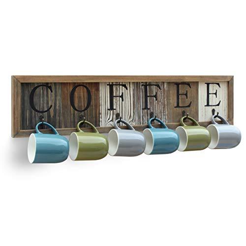 Rustic Coffee Mug Rack Wall Mounted, Printed Coffee Sign - 6 Coffee Cup Hooks - Wooden Coffee Mug Display and Organizer - Distressed Coffee Rack Sign (31.5')
