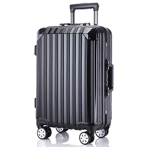 レーズ(Reezu) スーツケース 軽量 キャリーバッグ アルミフレーム キャリーケース TSAロック付 8輪 アルミ合金製 耐衝撃 旅行出張 1年保証 ブラック black Mサイズ 約70L