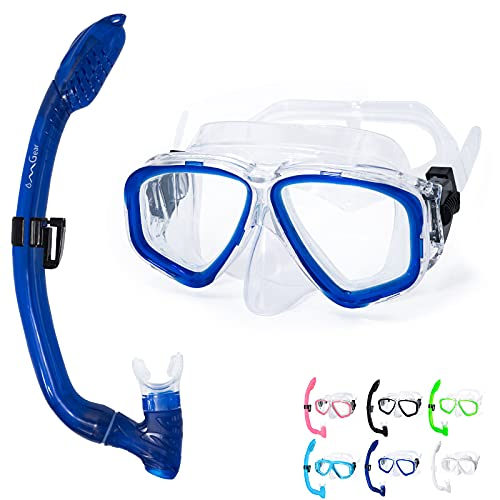 OMGear Kid Snorkel Set,Diving Goggles Child Swim Goggles with Nose Cover Dive Mask and Snorkel Combo Snorkeling Gear Snorkel Goggles for Junior Kids Youth Scuba Swimming(Blue)