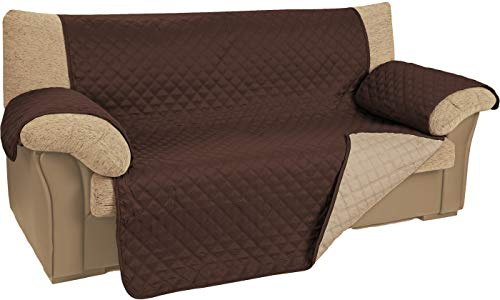 npt - Funda de Sofá/Cobertor de Sofá. Protector para Sofás con relleno Acolchado y Reversible, doble cara. Disponible hasta 4 plazas y 5 colores (marrón, 3 plazas)