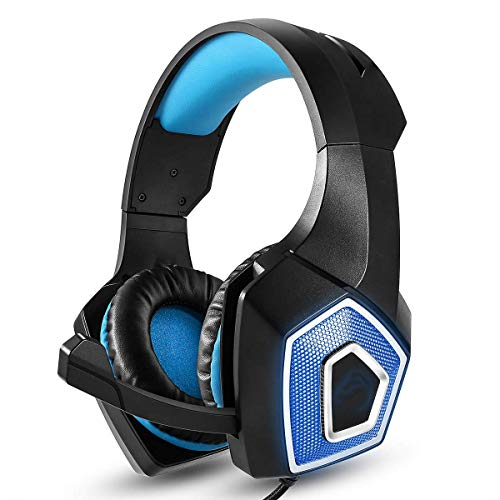 Gaming Headset Noise Canceling Stereo Over Ear Headphone with 7-Color Light and Mic for Laptop, Desktop, MAC, Xbox, PS4, Phone Tablet- Black + Blue