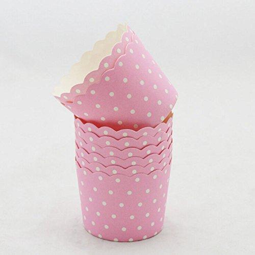 7thLake 40 Stück Papier Cupcake Dessert Muffinform Papierforrmchen Muffin Cases Pink mit Punkt