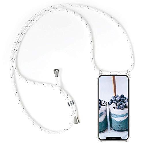 Caler [Coque avec Cordon Compatible pour Samsung Galaxy S10 Plus + Verre trempé Écran Protecteur, Silicone Transparente Crystal Coussin d'Air Mince TP