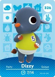 Dizzy- Nintendo Animal Crossing Happy Home Designer Series 4 Amiibo Card -326