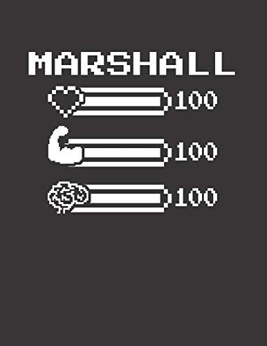 MARSHALL: Pixel Retro Game 8 Bit Design Blank Composition Notebook College Ruled, Name Personalized for Boys & Men. Gaming Desk Stuff for Gamer Boys. ... Gift. Birthday & Christmas Gift for Men.