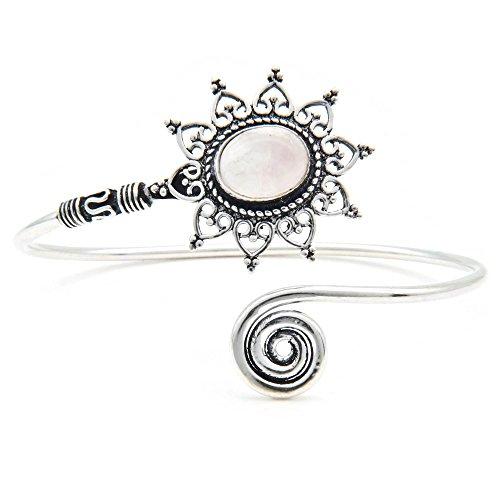 mantraroma Armreif Armband versilbert silbern Rosenquarz rosa (922-05-024-07)