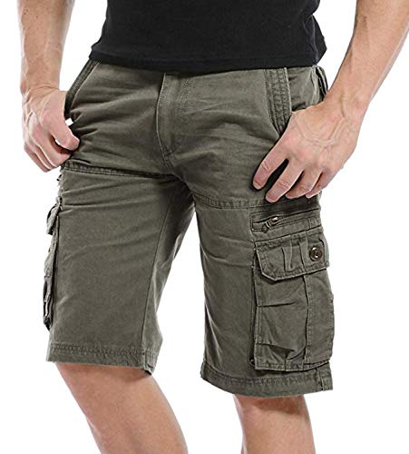 Kuson Hommes Shorts Bermudas Cargo Outdoor Coton Casual Lâche avec Poche Army Vert FR 46
