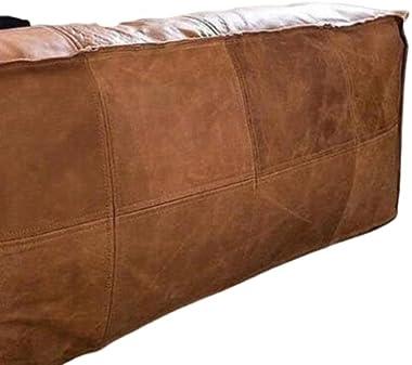 LEATHEROOZE Amazing Square unstuffed Ottoman Pouffe Moroccan Leather, Ottoman Square Pouf, Light tan Handmade Footstool Squar