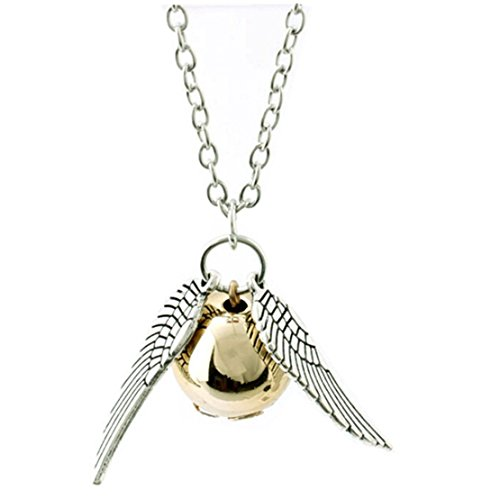 ANKRKERYYtitle Fairy Jewelry Harry Potter Golden Snitch Quicksilver Golden Pearl Necklace
