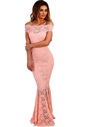Vestido Mujer Largo - Elegante para Ceremonia y Eventos, Novia o Dama de Honor - para Fiesta Discoteca Moda Baile Model 3 Rosa M