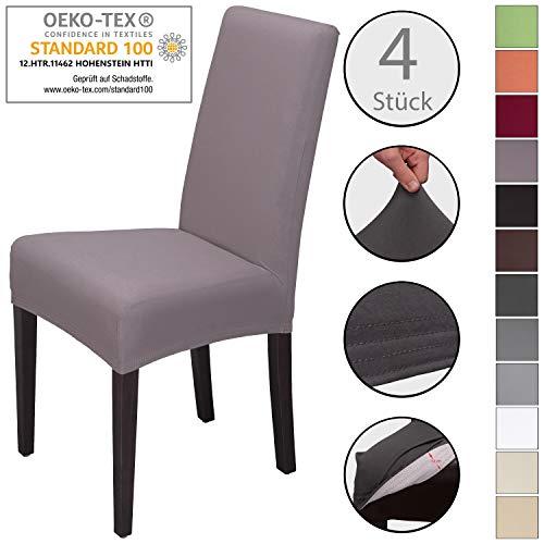 Staboos Stuhlhussen 4er Set aus 96% Baumwolle - Bi-elastische Stretch Stuhlüberzüge - Universal Stuhlbezug - Stuhlabdeckung waschbar & bügelfrei, Taupe
