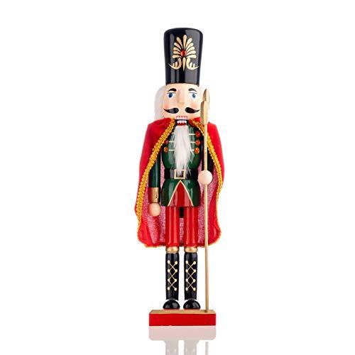 Nataland Schiaccianoci Soldato in Legno Dipinto A Mano 36 Cm con Mantello, Perfetto Come Decorazione Natalizia, Come Regalo e da Collezione (36 Cm, John)