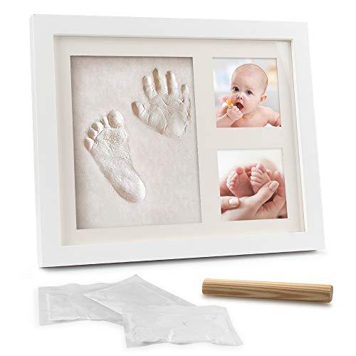 Samione Marco de Fotos para Bebé, DIY Bebé Recién Nacido Handprint y Marco de Huella para Niño y Niña - Regalos originales y únicos para la fiesta de bienvenida del bebé con recuerdos memorables