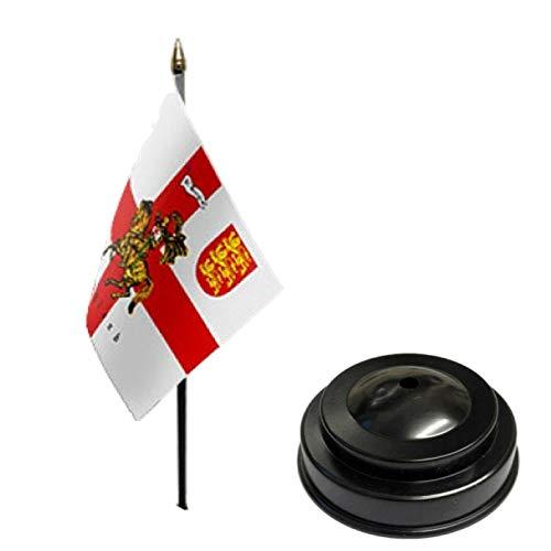Flagmania St George Charger - Bandera de mesa de escritorio (15,24 x 10,16 cm), color negro