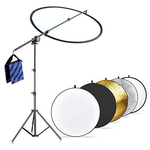 Neewer Photo Studio Lighting Reflector and Boom Arm Stand Kit:43 inches/110 centimeters 5-in-1 Multi-Disc Reflector, Holding Arm with Grip Head,75 inches/190 centimeters Light Stand,Blue/Black Sandbag