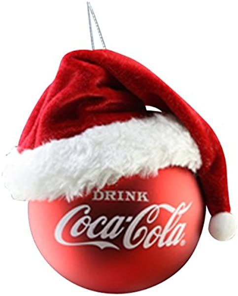 Kurt Adler Coca Cola Ball W Santa Hat Ornament Standard