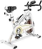 Bicicleta spinning, bicicleta ejercicio ciclismo interior con sensores frecuencia cardíaca con monitor, volante inercia profesional 11 Kg Fitness interior Manillar y asiento resistencia ajustable, r