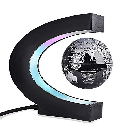 Globo de levitación con forma de C, globo flotante magnético con luces LED, mapa del mundo, regalo único de educación para enseñar demostración en casa, oficina o decoración de escritorio (plateado)