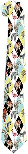 Corbata para Hombres Animales Tropicales y Aves Leopardo Tigre Cebra Flamenco Corbatas Clásicas Corbatas Jacquard Tejido para Negocios Fiesta de Bodas