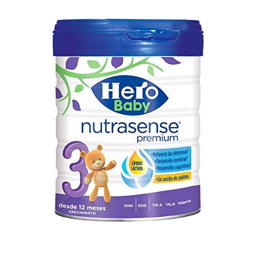 Hero Baby Nutrasense Premium 3 - Leche de Crecimiento en Polvo para Bebés a partir de los 12 Meses, Crecimiento y Desarrollo - Pack de 2 x 800 g