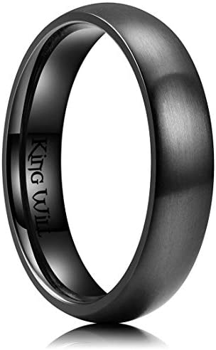 King Will 5mm Black Dome Titanium Ring Matte Finish Wedding Band Comfort Fit 10 product image
