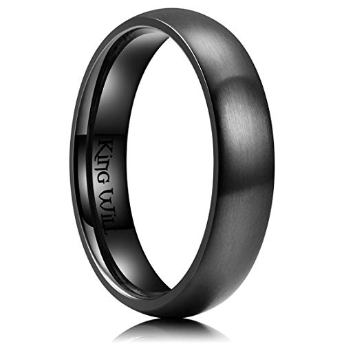 King Will 5mm Black Dome Titanium Ring Matte Finish Wedding Band Comfort Fit 12.5
