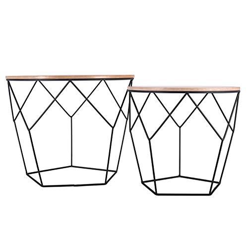 Ribelli Metalltisch schwarz – Holzplatte auf stabilem Metallgestell – Beistelltisch ideal für Wohnzimmer, Schlafzimmer, Büro und Co. – Zwei Tische im Set (Helles Holz/Schwarz)