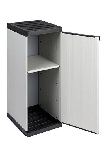 Kreher Nischenschrank aus Kunststoff mit Einer Tür und einem höhenverstellbaren Boden. Spritzwassergeschützt. Werkzeuglose Montage, stabil im Stand. In Hellgrau. Maße BxTxH 34 x 39 x 85 cm
