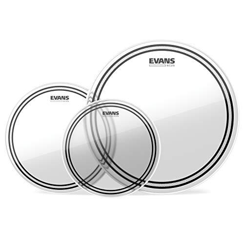 Evans ETP-EC2SCLR-F Confezione da 3 Pelli EC2 per Tom Rispettivamente di 10', 12' e 14', Fusion, Trasparente